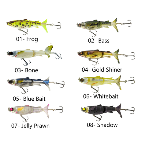 Chasebaits Drunken Mullet 130mm Segmented Surface Prop Bait Fishing Lures