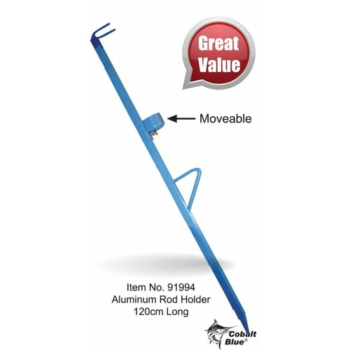 Cobalt Blue Aluminium Adjustable Fishing Rod Holder Beach Spike 80cm